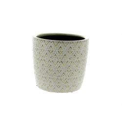 HIRA - Cache-pot losange Céramique Vert D14,5 x H13 cm