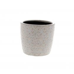 HIRA - Cache-pot losange Céramique Rose D14,5 x H13 cm