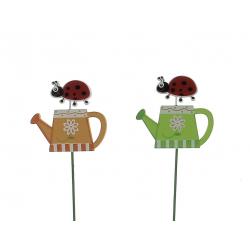 SNAILS - Piques coccinelles arrosoir Bois Assortis D7 x H26 cm par 12