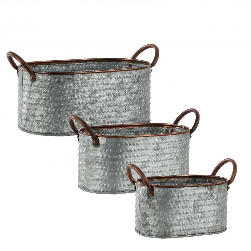 DUFFY - Pot oval Zinc Gris L25,5 x P13,5 x H16 cm