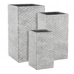 FACETTO - Pot carré Fibre Gris L37 x P37 x H70 cm