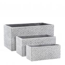 FACETTO - Pot carré Céramique Gris L55 x P23 x H23 cm