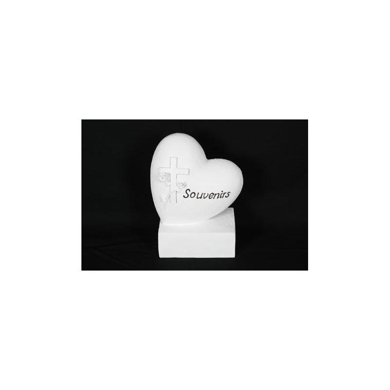 DEUIL - Cœur gravé Résine Blanc sur socle L13 x P13 x H13 cm