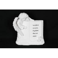 ANGEL - Ange + livre gravé Résine Blanc L18 x P19,5 x H7 cm par 2