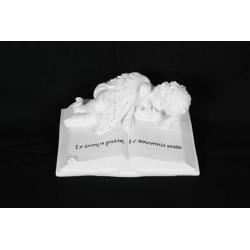 ANGEL - Ange allongé sur livre Résine Blanc L17 x P12 x H7 cm