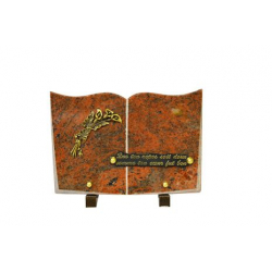 FUNERAIRE  - Plaque livre Granit Ass. + Inter or L17 x H25 cm par 6