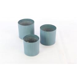 RIDGED - Cache-pots Fer ondulé Bleu par 3