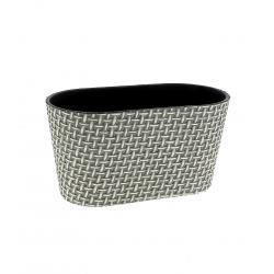 NESTOR - Jardinière ovale Osier Grise L20.3 x P10.3 x H17.5 cm