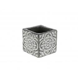 FAB - Cache-pot carré Céramique Gris à motifs L8.5 x P8.5 x H8.5 cm