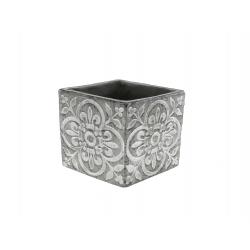 FAB - Cache-pot carré Céramique Gris à motifs L14,5 x P14,5 x H13 cm
