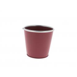 Cache-pot avec rebords Zinc Framboise D11.5/8.5 x H10.5 cm