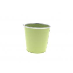 Cache-pot avec rebords Zinc Vert D17.5/11.5 x H15.5 cm