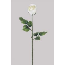 Bouton de rose Blanc 2 feuilles H66 cm