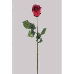 Bouton de rose Rouge 2 feuilles H66 cm