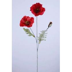 BRANCH - Coquelicot 2 Fleurs H67 cm par 3 Rouge