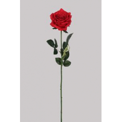 ROSA - Rose 3 Feuilles H73 cm Rouge