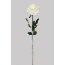 ROSA - Rose 3 Feuilles H73 cm Crème