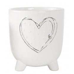 HERZ - Cache-pot cœur sur pieds Céramique Blanc L13 x P13 x H14 cm