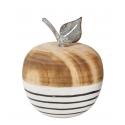 OBST - Pomme Bois avec Tige Métal Motifs D7 x H8,5 cm