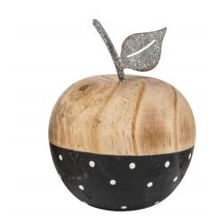 OBST - Pomme Bois avec Tige Métal Motifs D9 x H10 cm