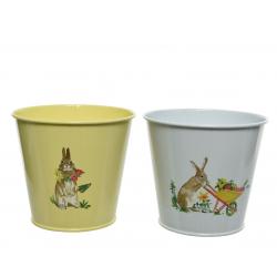 RABBIT - Cache-pots Pâques Fer Assortis D15,5 x H14,7 cm par 2