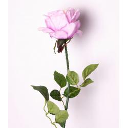 ROSA - Rose 3 Feuilles H73 cm Pêche/Rose