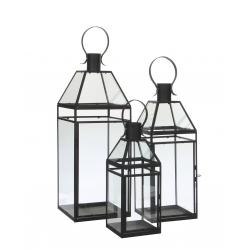 SARITA - Lanterne Fer Noire L17,5 x P17,5 x H48 cm Set de 3