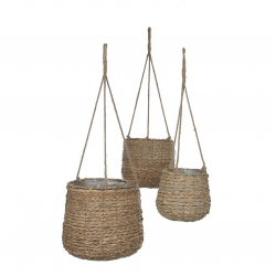 AVALON - Panier suspendu Osier tressé Naturel H90 x D30 cm Set de 3