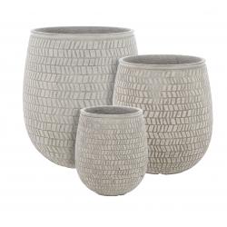 STRUCTURO - Pots ronds Taupe Résine H50 x D45 cm Set de 3