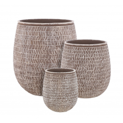 STRUCTURO - Pots ronds Marron Résine H50 x D45 cm Set de 3
