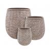 STRUCTURO - Pots ronds Marron Résine H50 x D45 cm Set de 3