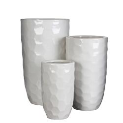 DIAMOND - Vase rond Céramique Blanc H45 x D26 cm par 3