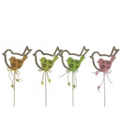 Piques oiseaux Bois Assortis H27 cm par 12