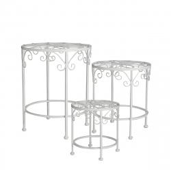 SEVILLA - Tables de plante Fer Blanches L31 x P31 x H70 cm par 3