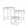 SEVILLA - Tables de plante Fer Blanches H43 x D35 cm par 3