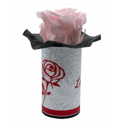 LA ROSE - Tête de Rose stabilisée dans sa boîte Rose claire D5 cm