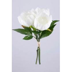 Bouquet Pivoines 3 tiges Blanches H30 cm