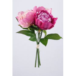 Bouquet Pivoines 3 tiges  Rose fuchsia H30 cm