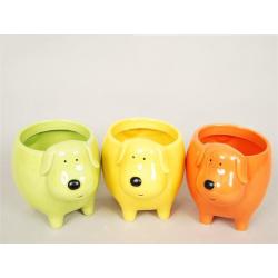 DOG - Céramique Chien Assortis Couleurs D6 x H8.5 cm par 3