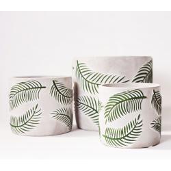 """RELIEF - Cache-pot  Ciment Blanc motifs """"Palme"""" en relief D19 x H17,5"""