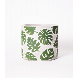 """RELIEF - Cache-pot orchidée Ciment motifs """"Monstrera"""" D12,5 x 11,5 cm"""