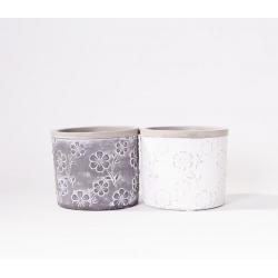 FLEURIS - Pot Ciment motifs fleurs Ass. D12,4 x H10 cm par 2
