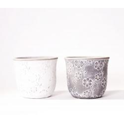 FLEURIS - Pot Ciment motifs fleurs Ass. D14,4 x H12,5 cm par 2