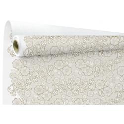BRODERIE - Papier kraft Blanc Motif Ecru broderie 0.80 x 40 m