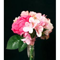 Bouquet Rose, hortensia Couleurs assorties H30 cm par 6