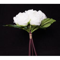 Bouquet 7 fleurs 3 feuilles Pivoine H29 cm par 7