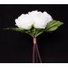 Bouquet 7 fleurs 3 feuilles Pivoine H29 cm