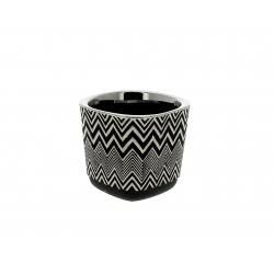SHINE - Cache-pot Orchidée Céramique Noir  D12,2 x H11 cm