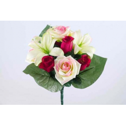 Bouquet 11 branches Rose, lys Rouge/vert H35 cm Par 12