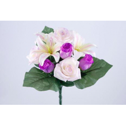 Bouquet 11 branches Rose, lys Lilas/pourpre H35 cm Par 12